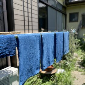正藍染ロングタオル ガーゼタオル